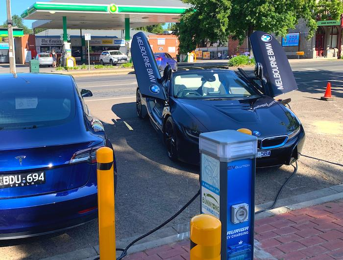 AURIGA EV charging unit with Tesla and BMW i8